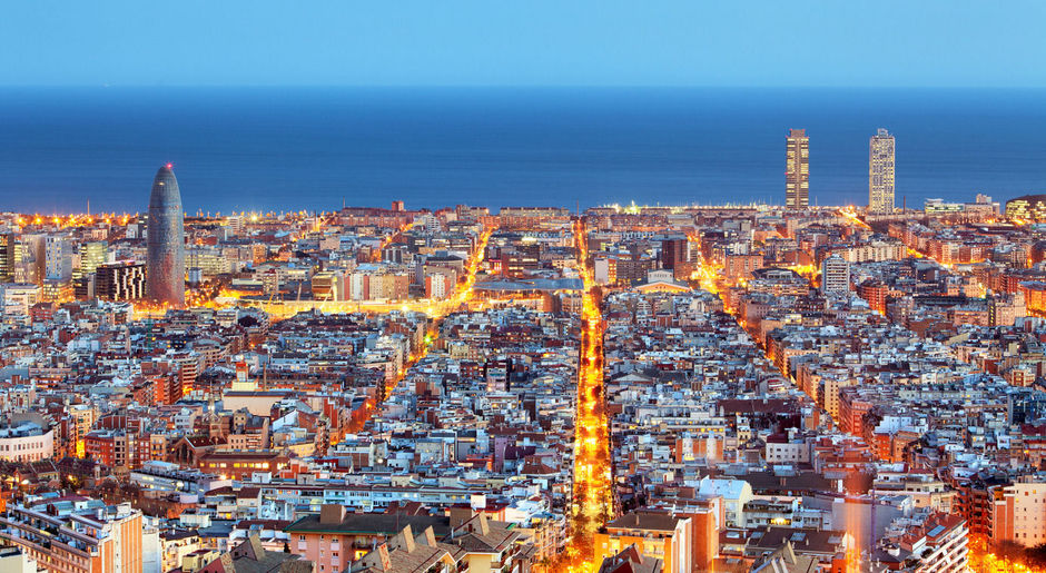 Barcelona skyline, Aerial view at night, Spain